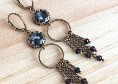 Boucles d'oreilles COCO Noir et Ivoire